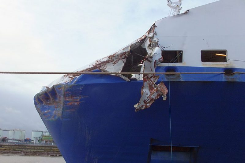 Damage to the bow of the Primula Seaways. Photo: MAIB