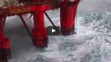 WATCH: North Sea Platform and Accommodation Rig Take HUGE Wave