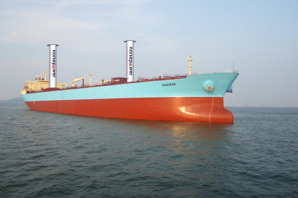Illustration shows two Flettner rotor sails installed onboard a Maersk Tanker vessel. Photo: Maersk Tankers/Norsepower