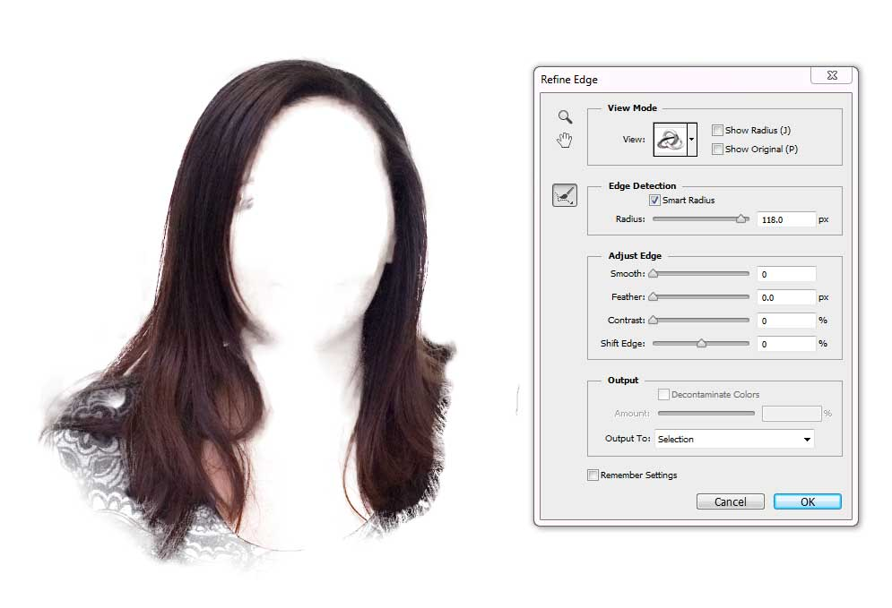 Change Hair Colour - Refine Edge Tool