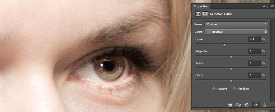 Change eye color in photoshop CC (also in CS6) - brown eyes
