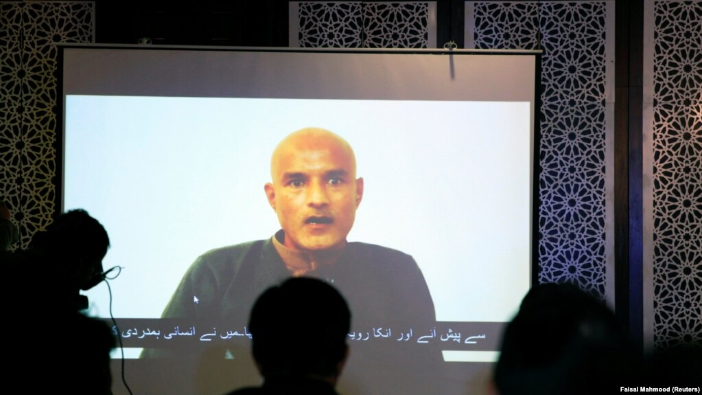 Former Indian Navy officer Kulbhushan Sudhir Jadhav speaks via video link during a news conference at the Pakistani Foreign Ministry in Islamabad in December 2017.