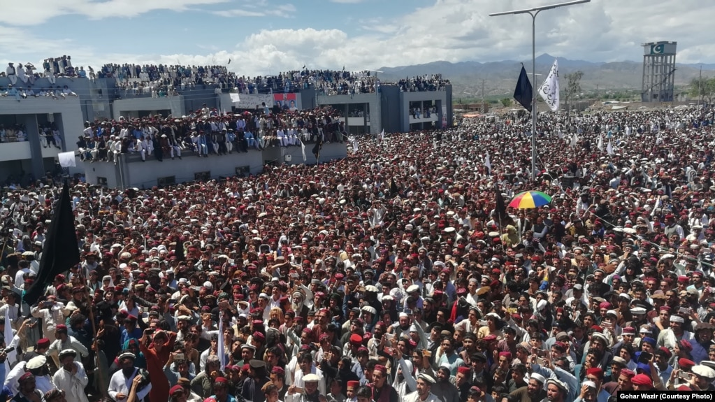 FILE: Some 100,000 protesters participated in a Pashtun Tahafuz Movement (PTM) protest in Miran Shah, the administrative headquarters of North Waziristan on April 14.