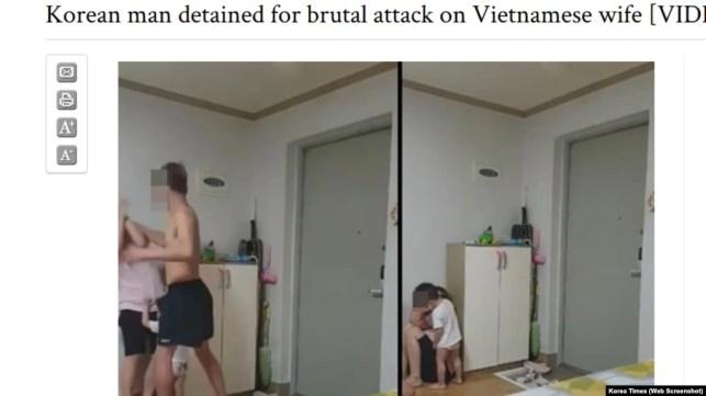Hình ảnh chụp từ video, cho thấy người chồng Hàn đánh đập vợ Việt.