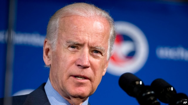 FILE - Vice President Joe Biden speaks at the first U.S.-Ukraine Business Forum co-hosted by the U.S. Chamber of Commerce and the Commerce Department in Washington, July 13, 2015. He heads to Ukraine next week.