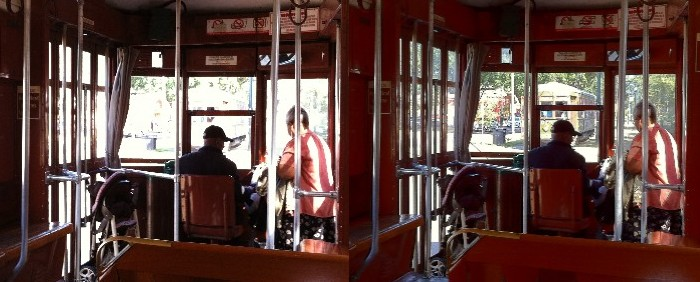 The HDR image at right shot from inside the trolley allows for proper exposure of interior detail as well as allowing proper exposure of the passing trolley outside.