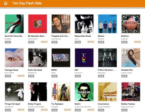 Google Music Tax Day Flash Sale