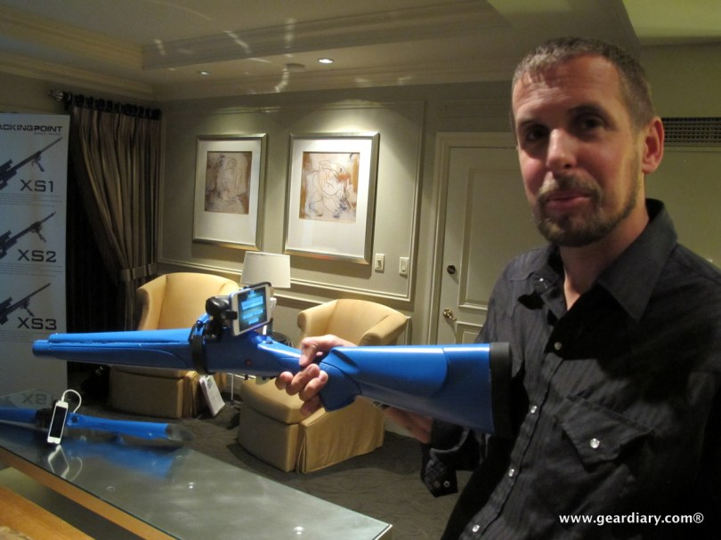 Jason Schauble, President of Tracking Point, shows one of their demo guns set up with the iPhone in place of the scope.