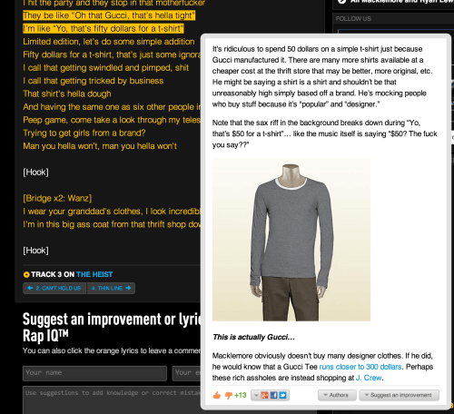 Rap Genius explains Macklemore & Ryan Lewis's Thrift Shop Lyrics