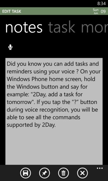 2Day Tasks App for Windows Phone