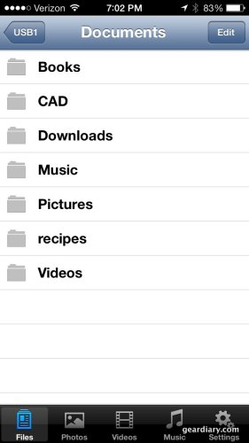 Screenshot of the MobileLight app on iPhone 5.  Here you can browse all the files on your USB stick or SD card.
