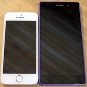 The iPhone 5S next to the Sony Xperia Z2