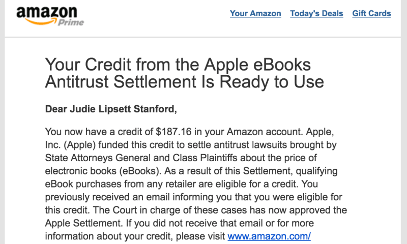 Amazon email about Apple eBook Antitrust Settlement