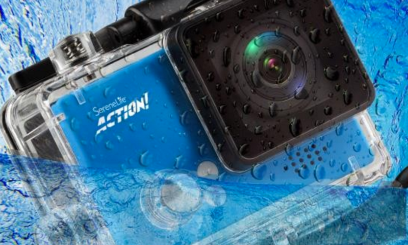 Pyle's Compact ACTION! 4K Ultra HD WiFi Camera, 1080p+ Sports Action Camera + Camcorder in blue 3