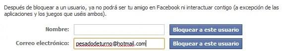 Bloquear por correo electrónico