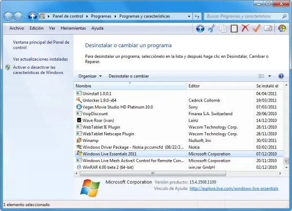 Desinstalar Windows Live Essentials