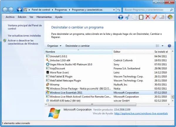 Desinstalar Windows Live Essentials