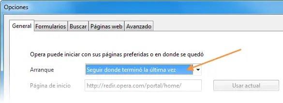 Opciones de Opera