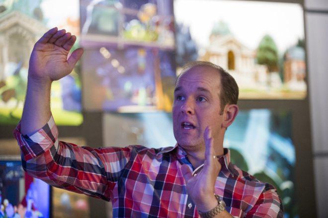 Supervising Animator, Scott Clark talks to press about the animation process at Monsters University Long Lead Press Days. Emeryville, California. April 9, 2013 (Photo by Jessica Lifland/Pixar)