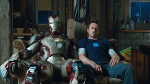 Tony Stark and his latest armor, both somewhat worse for wear.
