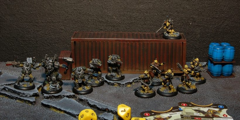 My two MERCS Factions take a few moments and call a cease fire in order to line up for a group photo. Photo and Painting by Ryan Carlson 2013