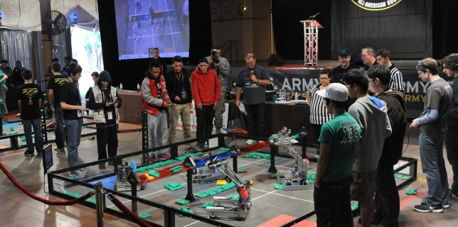 Photo from the 2013 VEX Robotics Competition at Sunset Station. Photo by: U.S. Army RDECOM