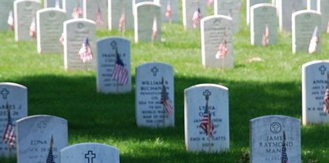 Picture of graves decorated with flags at Arlington National Cemetery on Memorial Day 2008.