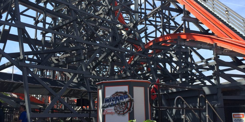 The Wicked Cyclone, a steel and wood hybrid coaster.