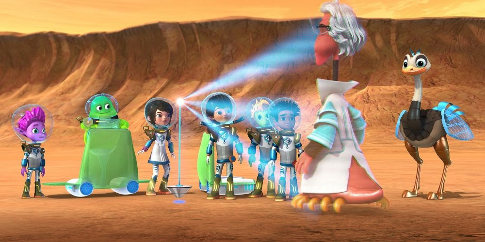 """MILES FROM TOMORROWLAND - """"Scavengers of Mars"""" - An Explorer Exchange scavenger hunt turns into a rescue mission when Miles' friend Rygan goes missing. This episode of """"Miles from Tomorrowland"""" airs Saturday, September 19 (8:30 – 9:00 AM ET/PT) on Disney Junior. (Disney Junior) PIPP, BLODGER BLOPP, LORETTA, MILES, RYGAN, HARUNA, PROFESSOR RUBICON, MERC"""