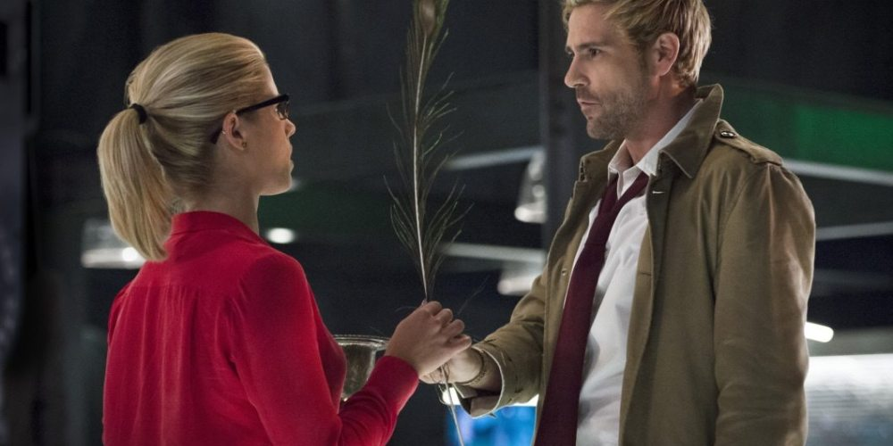 """Arrow -- """"Haunted"""" -- Image AR404B_0050b.jpg -- Pictured (L-R) Emily Bett Rickards as Felicity Smoak and Matt Ryan as Constantine -- Photo: Cate Cameron/ The CW -- © 2015 The CW Network, LLC. All Rights Reserved."""