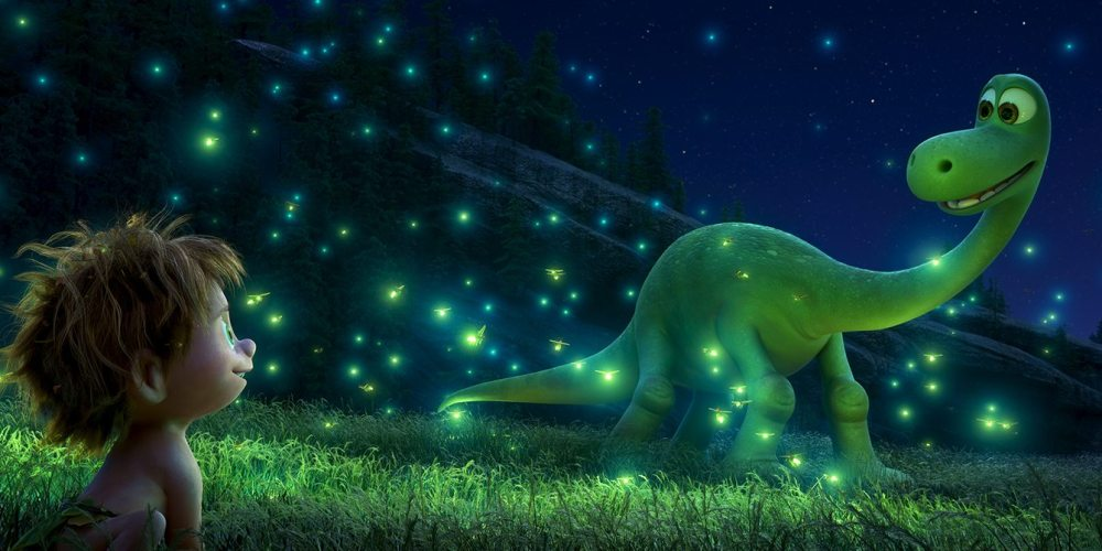 "An Apatosaurus named Arlo makes an unlikely human friend in Disney•Pixar's ""The Good Dinosaur.""  ©2015 Disney•Pixar. All Rights Reserved."