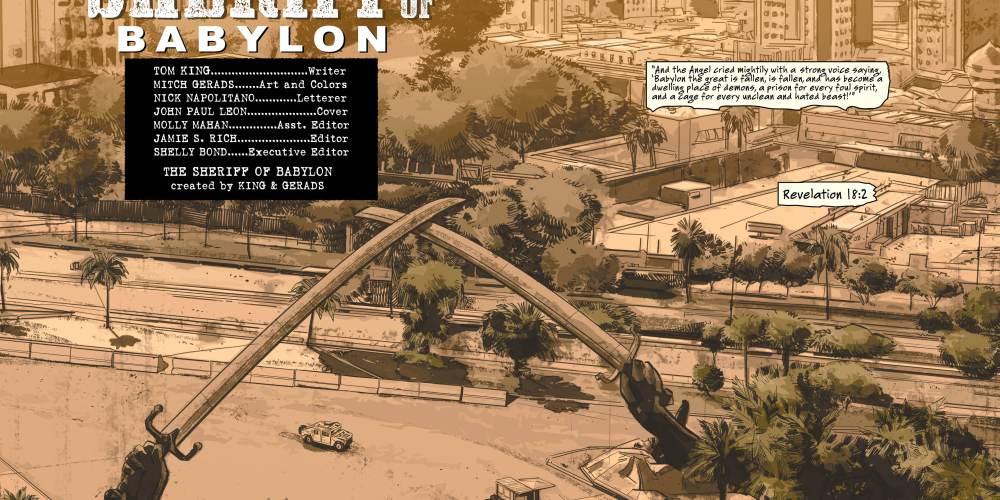 The splash page to the Sherrif of Babylon. Look carefully. image via Vertigo Comics