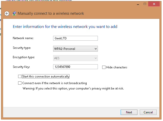 Manual Wireless Connection