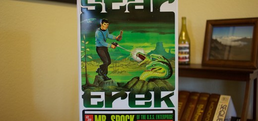 """The collector's tin box for AMT's """"Mr. Spock of the USS Enterprise"""" Model."""