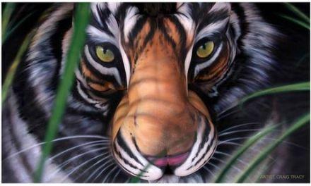La cara de un tigre en 3 mujeres sin ropas