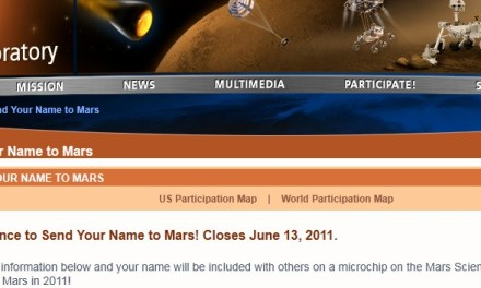 Mandá tu nombre a Marte. (Tenés hasta el 13 de Junio)