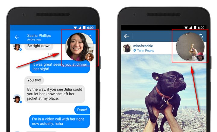 Facebook Messenger introduce Vídeo Chats Heads para mantener vídeo chats mientras hacen otras cosas
