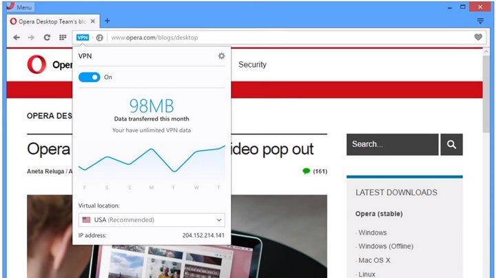 El navegador Opera (Mac, Linux, Windows) integra VPN gratuito para una navegación más segura