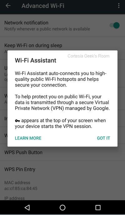 Google Nexus - Wi-Fi Assistant