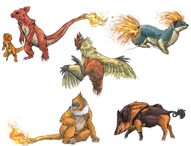realistic_pokemon_sketches__fire_2nd_evolutions_by_nauvasca-d5jf5si