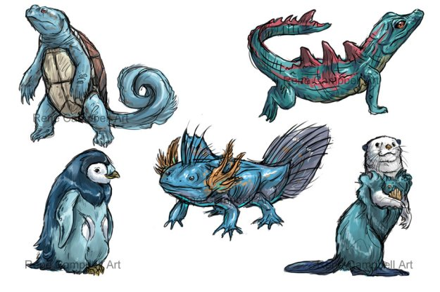 realistic_pokemon_sketches__water_starters_by_nauvasca-d5ih51b