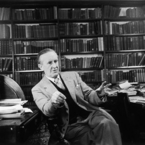 2nd December 1955: John Ronald Reuel Tolkien ( 1892 - 1973) the South African-born philologist and author of 'The Hobbit' and 'The Lord Of The Rings'.  Original Publication: Picture Post - 8464 - Professor J R R Tolkien - unpub.  Original Publication: People Disc - HM0232   (Photo by Haywood Magee/Getty Images)
