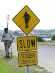Geezer crossing sign