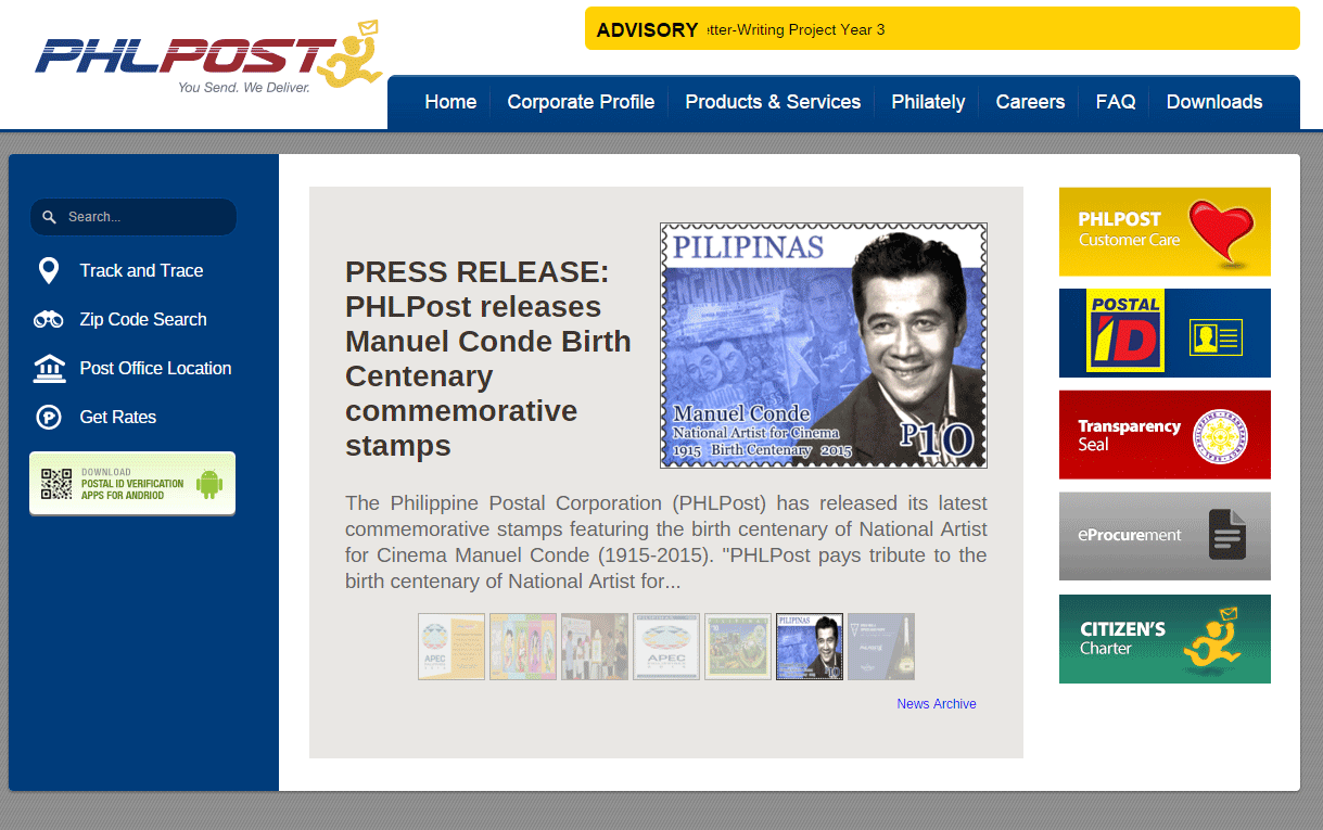 Philippine Post Office website