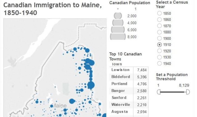 The interactive map shows the number of Canadian-born residents of Maine towns, cities and plantations at the time of each census, from 1850 to 1940.