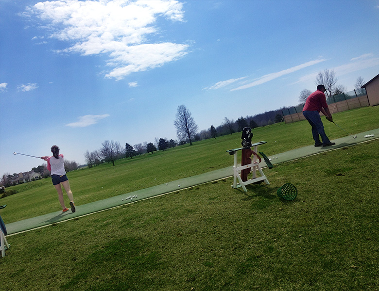 Before the Toledo Cars and Coffee event, Casey, Taylor, and Tiko hit some golf balls in Tiffin, Ohio