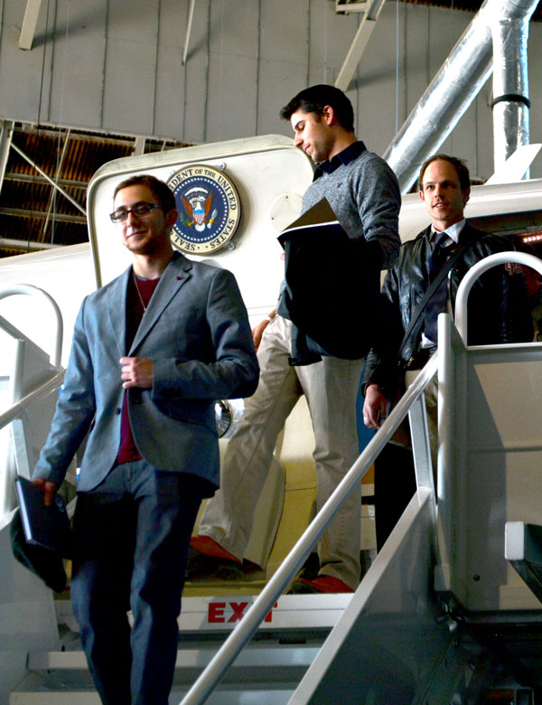 Zach, Nathan, and Casey look very official while exiting the presidential plane.