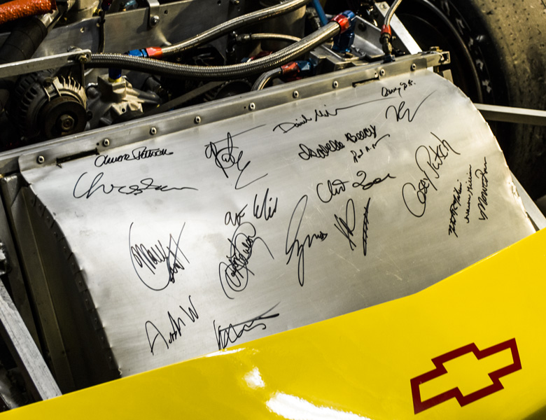 Signatures of past and present team members, mentors, donors, and supporters of the Genius Garage program.