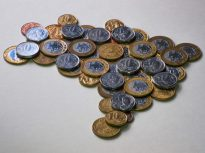 Brazil map with coins