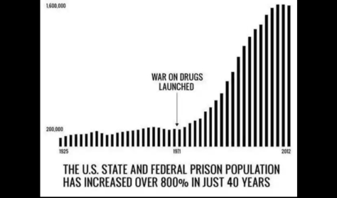 Graph of increasing prison population since war on drugs began